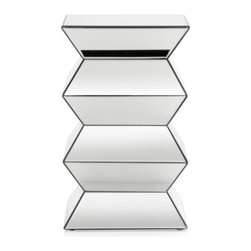 Z Gallerie - Reflection Pedestal - With its clean lines and reflective surface, our Reflection Table adds sophistication and grace to any room. The accordion shape casts a stunning shilouette, offering a unique perspective to the shapely piece.  Completely surrounded by mirrored glass, the Reflection Pedestal Table can effortlessly be styled as a statement piece on its own, or used to bring a touch of glamour to its surroundings.