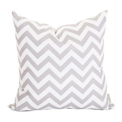 Majestic Home - Outdoor Gray Chevron Large Pillow - Add a splash of color and a little texture to any environment with these great indoor/outdoor plush pillows by Majestic Home Goods. The Majestic Home Goods Large Pillow will add additional comfort to your living room sofa or your outdoor patio. Whether you are using them as decor throw pillows or simply for support, Majestic Home Goods Large Pillows are the perfect addition to your home. These throw pillows are woven from Outdoor Treated polyester with up to 1000 hours of U.V. protection, and filled with Super Loft recycled Polyester Fiber Fill for a comfortable but durable look. Spot clean only.