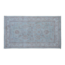 1800-Get-A-Rug - Peshawar Hand Knotted Rug White Wash Sky Blue Sh9116 - About Oushak and Ziegler Mahal