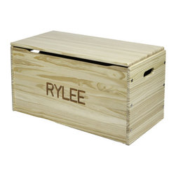 "Little Colorado - Personalized Toy Storage Chest - Features: -Made from solid wood.-Name is carved into the front of the chest.-High quality American made safety tested lid support.-Exceeds all other child safety requirements.-Easy to put together.-Finish: Natural.-Finish: Natural.-Distressed: No.-Frame Material: Solid pine/Birch plywood.-Hardware Material: Metal lid support, nickel plated steel continuous hinge, metal screws.-Solid Wood Construction: No.-Number of Items Included: 1.-Non-Toxic: Yes.-Number of Interior Storage Sections: 1.-Lidded: Yes -Removable Lid : No.-Safety Lid: Yes..-Upholstered: No.-Handles: Yes.-Casters: No.-Stackable: No.-Storage Capacity: 3 cubic feet.-Weight Capacity: 100 lbs.-Swatch Available: No.-Commercial Use: Yes.-Recycled Content: No.-Eco-Friendly: Yes.-Product Care: Do not use products containing ammonia.-Country of Manufacture: United States.-Age Recommendation: Ages 3 and up.Specifications: -FSC Certified: Yes.-CPSIA or CPSC Compliant: Yes.-CARB Compliant: Yes.-JPMA Certified: No.-ASTM Certified: Yes.-PEFC Certified: No.-Green Guard Certified: No.Dimensions: -Overall Height - Top to Bottom: 17"".-Overall Width - Side to Side: 30"".-Overall Depth - Front to Back: 16"".-Overall Product Weight: 34 lbs.Assembly: -Assembly Required: Yes.-Tools Needed: Phillips head screwriver, allen wrench and joint connector bolts are included.-Additional Parts Required: No.Warranty: -Product Warranty: 1 year limited warranty."