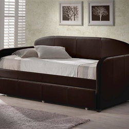 Hillsdale - Springfield Daybed in Brown Faux Leather - Includes Daybed and Suspension Deck. Mattress not included. Brown Faux Leather. Assembly Required. 84 in. L x 42 in. D x 43 in. HWhether you choose it for a teens bedroom or need it as a guest bed in your office or den, the Springfield daybed is a marvelously modern solution.The easy to care for faux leather and rounded edges add to this daybeds allure.