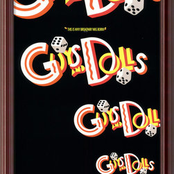 "Amanti Art - Guys and Dolls Framed Print - Do you love musicals and whimsy? This is the poster for you. A vintage print of the classic, ""Guys and Dolls, "" this cheerful poster featured tumbling dice and rich colors. It comes ready to hang."