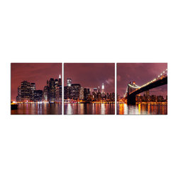 Elementem - NYC Print - This frameless triptych photograph of a NYC is printed on vinyl and mounted on a wooden MDF frame.   We laminate over each of our photos to allow them to be easily cleaned and protected.  Packed with wall hangers, they are easy to install