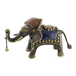 SouvNear - SouvNear Handmade Bronze Statue, Temple Elephant Figurine With the Wishing Bell - * Beautiful depiction of an Indian temple elephant holding a prayer bell in its trunk. Mixture of colors and dull bronze adds a vibrant & ethnic touch to the house decor