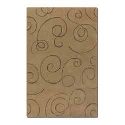 Uttermost - Uttermost Manhattan 8 x 10 Rug - Camel 73030-8 - Over Dyed Camel Brown Wool And Viscose Blend Accented With Chocolate Scroll Motifs.