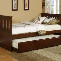 Poundex Furniture - Twin Bed With Trundle - F9052 - This twin bed is crafted in a simple design of multi-panels of straight lines for a comfortable and functional style. With bedding space for an additional twin bed, This is perfect for sleepovers or family and friend visitors. It comes in a medium and dark pine veneer.