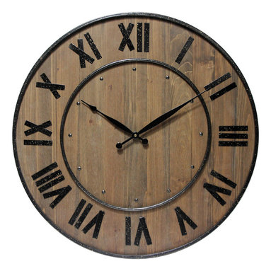 """Infinity Instruments, Ltd. - Wine Barrel Clock - Infinity Instruments Wine Barrel wall clock is a wood and steel clock in  a traditional barrel design. With a fitting name to this 24"""" wall clock it will look great in a beautiful traditional setting."""