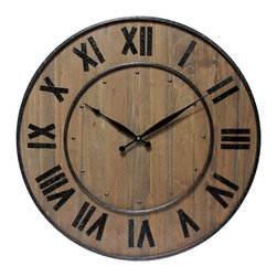"Infinity Instruments, Ltd. - Wine Barrel - Infinity Instruments Wine Barrel wall clock is a wood and steel clock in  a traditional barrel design. With a fitting name to this 24"" wall clock it will look great in a beautiful traditional setting."