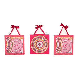 """Sophia Lolita - Canvas Art - Our 3 pc canvas art pack adds fun using  """"Sophia Circles"""" signature pattern and puts life to the rooms walls.  Each framed in poppin pink and designed with pattern in most of the collections colors.  A gorgeous accent for the room or bathroom."""
