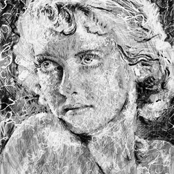 """overstockArt.com - Pierson - Bette Davis - Bette Davis is a portrait is of a real star of the silver screen and a true film, television and theatre Icon. It's a part of Jeffery Piersons ongoing ICON series. Jeffrey F Pierson was born 1974 in Newton, New Jersey. When asked about his work he describes: """"My work reflects my dreams, memories, and the world as I perceive it. It is my great hope and intention that my imagery be a catalyst, sparking the synapses in an unlit mind. Breaking the bonds of mental lethargy, and inspiring the viewer to see, to think, to feel."""""""
