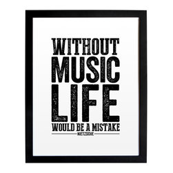 "The Oyster's Pearl - Distressed Typographic PosterPrint Without Music Life Would Be A Mistake, 11""x14 - ""Without music, life would be a mistake."" -Friedrich Nietzsche"