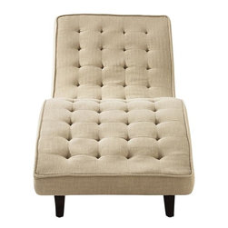 "Home Decorators Collection - Vance Tufted Lounge - Stretch out along the comforting curves of our Vance Tufted Lounge, and you'll want to stay there forever. With its sleek, fully-tufted shape and tapered, solid wood legs, this stylish chaise makes a simple statement: ""Relax."" Available in your choice of fabric. Legs are solid wood with a walnut finish."