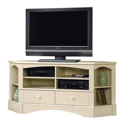 Sauder - Sauder Harbor View Corner Entertainment Credenza in Antiqued White - Sauder - TV Stands - 402905 -
