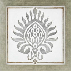 Paragon Decor - Brocade in White I Artwork - Exclusive Reverse Hand Painted Acrylic with Silver Leaf