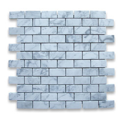 "Stone Center Corp - Carrara Marble Subway Brick Mosaic Tile 1x2 Honed - Carrara white marble 1"" x 2"" brick pieces mounted on 12"" x 12"" sturdy mesh tile sheet"