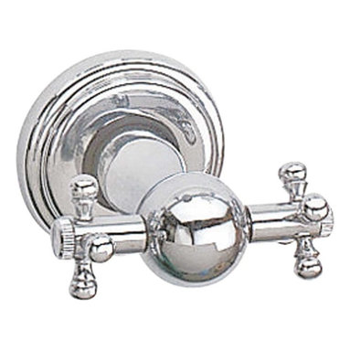 Renovators Supply - Robe Hooks Chrome Double Robe Hook Cross Collection - Bathroom Accessories, Double Robe Hook. Part of the Cross Collection, this double robe hook features cross handle details, crafted to resemble old fashioned cross handle fixtures. Made of the finest brass construction it boasts a luxurious tarnish-resistant chrome-plated finish. Unique and distinctive bath accessory to hang robes or towels.