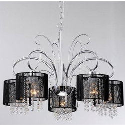 None - Aegean Black Shade 5-light Chrome Chandelier - With its dramatic,contemporary design,this five-light chrome chandelier illuminates your home in style. Crafted with an elegant,curving base,the chandelier features black shades and drop crystals that create an eye-catching decor accent.