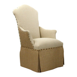 Kathy Kuo Home - French Country Jute Linen Skirted Dining Arm Chair - High contrast meets high style in the lines of this tack upholstered, skirted chair.  Combining classic lines with a fresh contemporary attitude and contrasting linen, this piece would fit beautifully into contemporary rustic settings as easily as it would in traditional or French country homes.