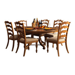Hillsdale Furniture - Hillsdale Hamptons 7-Piece Round Dining Room Set in Weathered Pine - Rich in quality and design, Hillsdale Furniture's Hamptons dining collection boasts a dynamic weathered pine finish, a transitional ladder back chair, and a round dining table with a leaf that provides room for seating up to six people comfortably. To complete your dining room, this collection features a matching server with 2 glass doors and 1 pane for display and storage space. Solid pine construction. Assembly required.