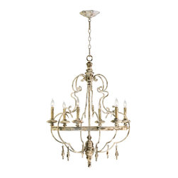 Kathy Kuo Home - Da Vinci 6 Light French Country Antique Ivory Chandelier - The Da Vinci chandelier is the epitome of classic, timeworn Italian design.  Fashioned after an antique discovered in the Italian countryside, this luminary celebrates the simplicity of handcrafted European family heirlooms.  Echoing elements of Baroque styling, wood turning, and simulated wax candles lend this chandelier a humble farmhouse aesthetic.  Comes with 10 foot wire; 8 foot chain
