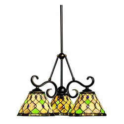 Kichler Lighting - Woodbury 3-lt Chandelier - Exquisitely done in cream and green Translucent stone with art glass accents and a metal framing finish in Oiled Bronze, this Tiffany inspired chandelier will enhance any home looking for period decor.