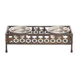 BZBZ96950 - Unique and Antique Themed Metal and Steel Pet Feeder - Unique and antique themed metal and steel pet feeder. Two shiny steel bowls are placed in middle of the feeder base. You can keep water and food in these separate bowls. The metal frame is dyed in rustic brown and has smooth finishing. Some assembly may be required.