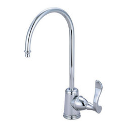 "Kingston Brass - Century Water Filtration Faucet, Chrome - The Clearwater water filtration faucet is built thin with a traditional style 1/4 turn lever and a slender J-shaped spout. Its simple construction provides easy managing along with its long-lasting reliability.; Fabricated from high quality brass material for durability and reliability; Lifetime hardisc ceramic cartridge; 3/8"" -14 NPS male threaded inlet shank; Install in decks up to 2"" thickness; 1/4"" turn ON/OFF water control mechanism; Max 2.2 GPM (8.3 LPM) water flow rate at 60 PSI; Material: Brass; Style: Classic; Faucet Holes: 1; Flow Rate GPM: 2.2; Valve Type: Ceramic Disc; Faucet Centers: Single Post; Spout Height: 11; Spout Reach: 6; Max Deck Thickness: 2; Handle Style: Metal Lever; Number of Handles included: 1; Weight: 1.515 lbs; Dimensions:15.27""L x 7.40""W x 2.74""H"