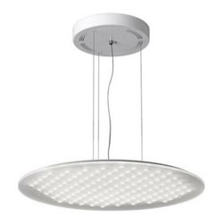 "Modul R 120XL pendant light - additional indirect light - The Modul R 120XL pendant light - additional indirect light was designed and made by Nimbus. This ultra flat LED pendant fixture comes in suspended mounting on ceiling. With it's rounded shape the fixture is made of satin frost acrylic diffuser plate and steel mounting. The fixture is suspended by four stainless steel adjustable cables and its diffuser is matt on both sides with 129 dimples. The distribution of light is direct and indirect, 55% direct beam and 45% indirect beam. Upon request this fixture is available in building material class B1 (difficult to ignite). The suspension is suitable for workplace lighting. Available with one build in Power 65W LED. IP 20.      Product Details:  The Modul R 120XL pendant light - additional indirect light was designed and made by Nimbus. This ultra flat LED pendant fixture comes in suspended mounting on ceiling. With it's rounded shape the fixture is made of satin frost acrylic diffuser plate and steel mounting. The fixture is suspended by four stainless steel adjustable cables and its diffuser is matt on both sides with 129 dimples. The distribution of light is direct and indirect, 55% direct beam and 45% indirect beam. Upon request this fixture is available in building material class B1 (difficult to ignite). The suspension is suitable for workplace lighting. Available with one build in Power 65W LED. IP 20.  Details:     Manufacturer: NIMBUS   Designer: Nimbus   Made in: Germany   Dimensions:  Diameter: 15.3""(650mm) X Depth: 0.3""(8mm)  Cable Lenght: 59.1""(1500mm)     Light bulb:  1x65W build-in LED 3000K warm white     Material: Steel, Glass"