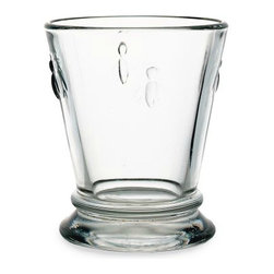 Provençal Bee Glasses - These sturdy glasses would be fun to serve wine in for a casual dinner. Embellished with bees, they are from the oldest glass maker in France.
