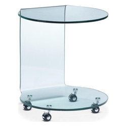 Modern Glass Rolling Side Table Mission - Glass Rolling Side Table Mission is made of bent semi-tempered glass with rolling casters. This occasional table features super contemporary design.