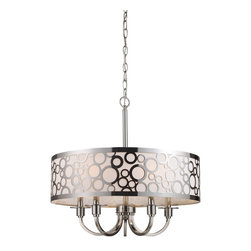 """Elk Lighting - Elk Lighting Retrovia Modern / Contemporary Drum Chandelier X-5/62013 - During The 1950S, There Was A Renewed Sense Of Style And Design From Consumer Products To Fashion And Beyond.  This Design Movement Coined The Term """"Mid-Century Modern"""" Which Became A Leading Design Movement. Finished In Polished Nickel, This Collection Embodies The Excitement Of The Time Period With Laser Cut Circles, Opal Etched Cylindrical Glass, And A White Diffuser That Accents The Drum And Vanity Fixtures."""