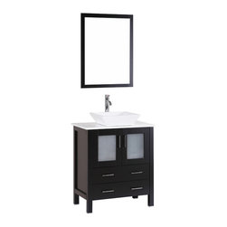 """Bosconi - 30"""" Bosconi AB130S Single Vanity, Espresso - Sophistication is priority with this sleek 30"""" espresso Bosconi vanity. The ceramic, square vessel sink and vertically mounted mirror accentuate the modernistic approach to the design. The center cabinet features soft closing doors and is spacious enough to house your essential bathroom supplies."""