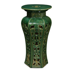 China Furniture and Arts - Porcelain Garden Stool - With an antique drip-mottled glaze finish, our handcrafted earthenware pedestal was adopted from those originally used in the temple garden in the Far East. The hand-applied finish creates variations in its color making each seat distinct with individual signature. Can be used indoors and outdoors as an end table or as pedestal. Imported.