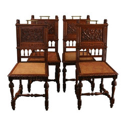 EuroLux Home - 4 Consigned Antique French Dining Chairs 1900 - Product Details