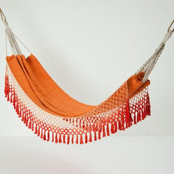 Handwoven Karoo Hammock, Orange - Outdoor living is sometimes about being alone with nature. I love this vibrant hammock with fringe detail. Is it making you want to nap too?