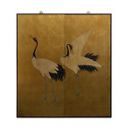 China Furniture and Arts - Gold Leaf Hand Painted Cranes Wall Plaque - Adopted from Japanese art, the dancing cranes symbolize longevity and prosperity. Black borders frame the composition. Matching brass hangers are included. (2pcs/set)