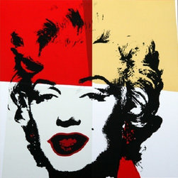 "Andy Warhol Gold Marilyn Monroe Sunday B Morning Serigraph Silkscreen #4 Popart - STUNNING MARILYN BY ANDY WARHOL SUNDAY B MORNING SERIGRAPH SCREEN PRINT!, These are fabulous exciting silkscreen screenprints. These are Sunday B. Mornings editions screenprints that are stamped on the verso in blue ink published By Sunday B Morning, fill in Your Own Signature. The inks' are the 1980's editions and the quality and integrity of the prints is impeccable. They are excellent High quality Silkscreen Screenprints printed on 'museum board' with the highest quality archival inks. Comes with Certificate of Authenticity. These are highly sought after by collectors for their quality, rarity and exciting vibrant colors.These are in excellent mint condition. Size is large at 36"" x 36"" inches."