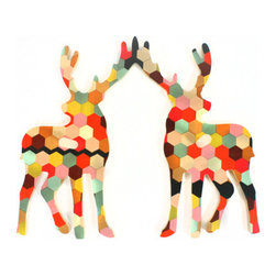 Honeycomb Elk Wall Hook - Deers are usually thought of as rustic decor pieces, but these colorful ones are sure to add a more fun tone to your home.