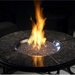 "Granite Fire Pit Table - Chat Table 42"" w/British Granite Top & Lazy Susan and CF-20-LP"