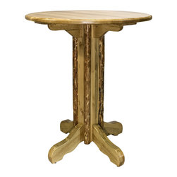 """Montana Woodworks - Montana Woodworks Pub Table in Glacier Country - This unique pub style table offers a choice of round, square or octagonal 45"""" tops and a table height of 40"""". Handcrafted by the artisans of Montana Woodworks using solid, American grown wood, this table is a perfect match for Montana Woodworks barstools. (Sold separately) Finished in the """"Glacier Country"""" collection style for a truly unique, one-of-a-kind look reminiscent of the Grand Lodges of the Rockies, circa 1900. First we remove the outer bark while leaving the inner, cambium layer intact for texture and contrast. Then the finish is completed in an eight step, professional spraying process that applies stain and lacquer for a beautiful, long lasting finish. Some assembly required. 20-year limited warranty included at no additional charge."""