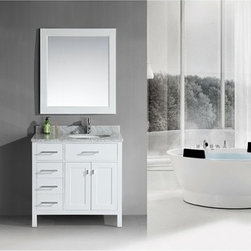 "Design Element - Design Element London 36"" Single Vanity with Drawers on the Left - Pearl White - The London 36"" Single Sink Vanity Cabinet, constructed with solid wood, provides a contemporary design perfect for any bathroom remodel. The ample storage in this free-standing vanity includes one flip-down shelf, four fully functional drawers and one double door cabinet each accented with brushed nickel hardware. This vanity cabinet is available in an espresso or white finish and requires a counter top with a sink that is offset to the right above the double door cabinet. You have the option to add a White Carrera Marble Countertop with white porcelain sink, pop-up drain and matching mirror to make your own complete bathroom vanity set.  Features Solid wood cabinet Four functional drawers, soft closing double-door cabinet, satin nickel finish hardware. Soft closing cabinet door ensures you never hear door slam again. Available as a Vanity Set including: White Carrera Marble Countertop, White Porcelain Sink, Pop up Drain, Matching Mirror Faucet(s) not included Manufacturer provides 1 year warranty How to handle your counter"