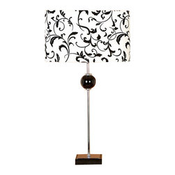 Benzara - Contemporary Black White Table Lamps with Shades - Contemporary black white Table Lamps with Shades. Lamps are 27 inches tall and shade size is 11 inches. Table lamps are made from metal with fabric shades. Switch used is E27 3- Way Max ,60 watt light bulb recommended. Light bulb not included.