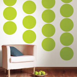 """Stylin Green Dots Set of Wall Decals - Think chartreuse mixed with yellow for a really awesome green. This pack comes with twenty 13"""" Stylin Green dots. All WallPops are repositionable and always removable."""