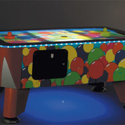 Gamerooms - Designer Toddler Air Hockey table shown in Balloon Design.  Able to put your own custom design on entire table. Other larger sizes available.