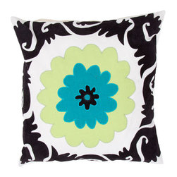 Jaipur - Pop Nomad Blue and Black 18-Inch Square Pillow - - A fun funky collection of pillows in 100% cotton taking inspiration from Suzani patterns which have been rescaled and updated .Colors mix black and white with vibrant brights of pink lime and lemon and use a combination of flock print applique and embroidery embellishment techniques  - Cleaning and Care: Remove the throw pillow's cover if it is removable. Wash the cover separately from the pillow. Pre-treat badly soiled or stained areas on the pillow cover with a color-safe prewash spray. Rub the spray into the stain with a damp sponge. Wash the pillow cover or the whole pillow on a gentle-wash cycle in warm water with a very mild detergent. Detergent for delicate fabrics or baby clothes is usually suitable. Remove the pillow or pillow cover as soon as the washing machine has ended the cycle and has shut off. Hang the pillow or cover up to dry in a well-ventilated area. If the care label specifies that the item is dryer-safe place the pillow or pillow cover in the dryer and tumble dry on low heat. Fluff the pillow once it is dry in order to maintain its form. Don't use the pillow until it is completely dry. Damp pillows will attract dirt more easily  - Construction: Handmade  - It is Sustainable Jaipur - PLC100031