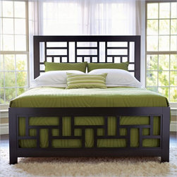 Broyhill Perspectives Lattice Bed in Graphite Finish - Contemporary style you can be comfortable with: This Perspectives Lattice Bed has geometric shapes, Lattice work, modern chrome hardware, and a unique graphite finish.