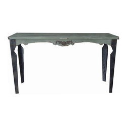 Wooden Table 60 X 18 X 33 In - Lovely wooden grey top, black leg vintage-looking rectangular table