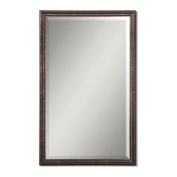 "Uttermost - Uttermost 14442 B  Renzo Bronze Vanity Mirror - Frame is finished in distressed bronze with gold leaf highlights. mirror has a generous 1 1/4"" bevel."
