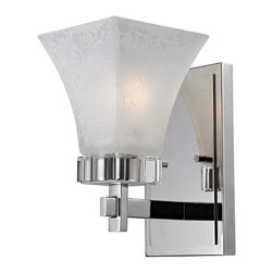 Z-Lite - Z-Lite Pershing Wall Sconce X-S1-913 - This wall sconce stands out with its beautiful crystal accent and polished nickel frame.  The white watermark glass shade gives it a unique and clean look.
