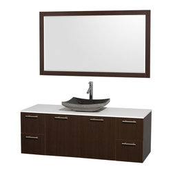 Wyndham Collection - Wyndham Collection 'Amare' 60-inch Espresso/ White Top/ Granite Sink Vanity Set - Modern clean lines and a truly elegant design aesthetic define this Amare single vanity set from the Wyndham Collection. An arched,granite basin sink sits atop artificial stone then combines with espresso-finished wood to complete this bathroom decor.